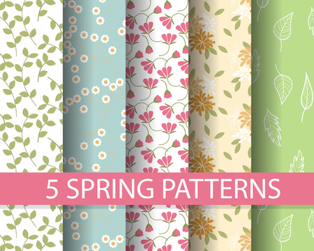 5 different spring patterns, Pattern Swatches, vector, Endless texture can be used for wallpaper, pattern fills, web page,background,surface