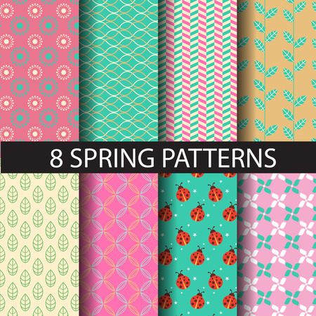 8 different spring patterns,  Pattern Swatches, vector, Endless texture can be used for wallpaper, pattern fills, web page,background,surface