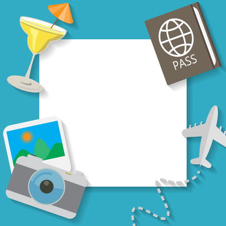 abroad: summer vacation and travel on blue background, flat icon concept  text can be add for advertising, wallpaper, greeting card