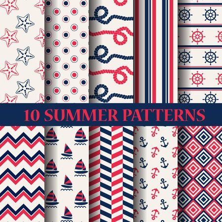 patterns vector: 10 different summer patterns, Swatches, vector, Endless texture can be used for wallpaper, pattern fills, web page,background,surface