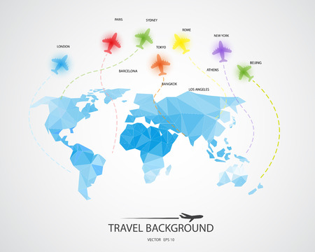 routes: travel around the world background, abstract map,  Tourism concept image. Holidays and vacation.Sea, ocean, land, , beach, air travelling.
