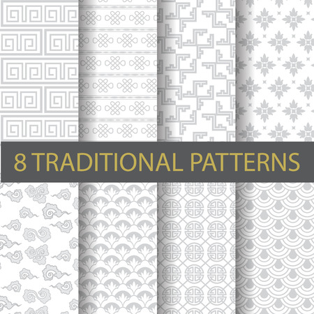 8 different traditional chinese patterns. Endless texture can be used for wallpaper, pattern fills, web page background,surface textures.
