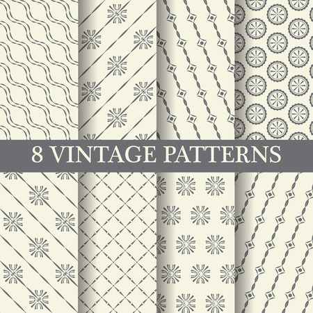 line pattern: 8 different elegant  patterns, vintage and classic style,  Pattern Swatches, vector, Endless texture can be used for wallpaper, pattern fills, web page,background,surface