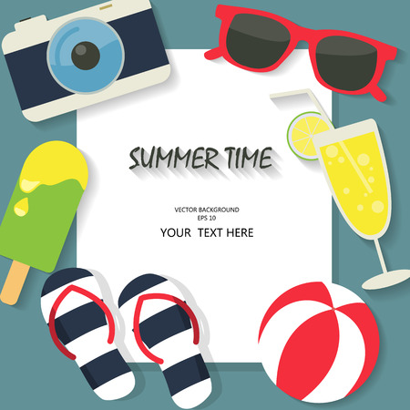 summer fun: summer, travel,  and vacation background, beach  fun and color concept, text can be added