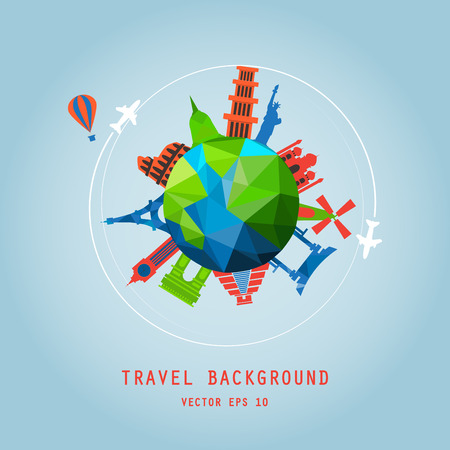 wave tourist: travel background, around the tourist world concept, image. Holidays and vacation. air travelling. Illustration