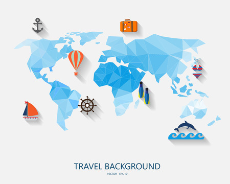 wave tourist: travel around the world background, abstract map,  Tourism concept image. Holidays and vacation.Sea, ocean, land, , beach, air travelling.