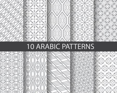 arabesco: 10 patrones diferentes arábigos, Muestras patrón, vector, textura sin fin se pueden utilizar para el papel pintado, patrones de relleno, página web, fondo, superficie