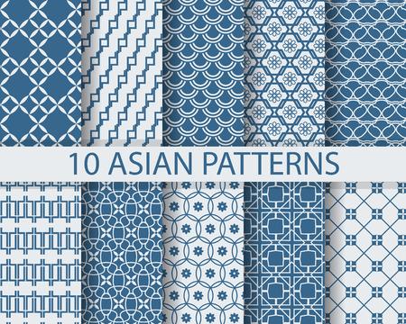 flores chinas: 10 asiáticos patrones de costura tradicionales chinos diferentes, Muestras, vector, textura sin fin se pueden utilizar para el papel pintado, patrones de relleno, página web, fondo, superficie Vectores