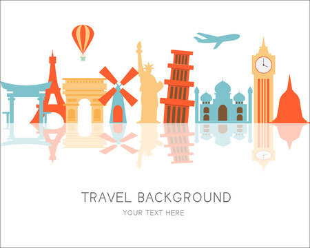world heritage: travel and Flights background for tourist,  holidays and vacation. items are include air ticket and world heritage vector, text can be added