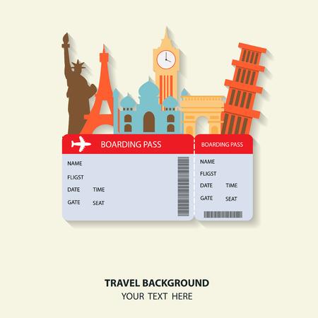 biglietto: viaggi e voli sfondo per turismo, vacanze e vacanze. articoli sono incluso biglietto aereo e del patrimonio mondiale vettoriale, testo possono essere aggiunti