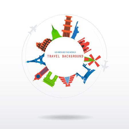 world heritage: world travel background for vacation.   items are include air ticket and world heritage, vector. text can be edited