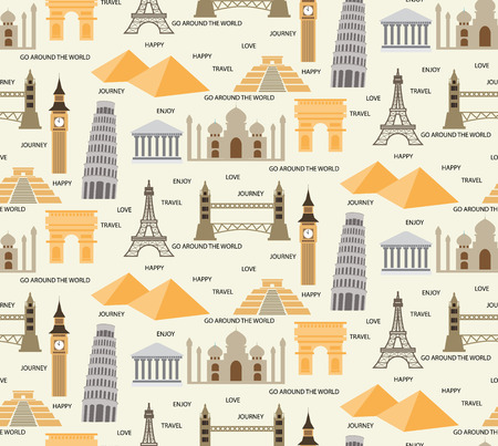 travel seamless pattern background,  world , tourist, image, Holidays and vacation. vector,  Pattern Swatches, Endless texture can be used for wallpaper, pattern fills, web page,background,surface Ilustração