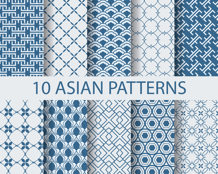 wallpaper blue: 10 different chinese asian traditional seamless patterns, Swatches, vector, Endless texture can be used for wallpaper, pattern fills, web page,background,surface