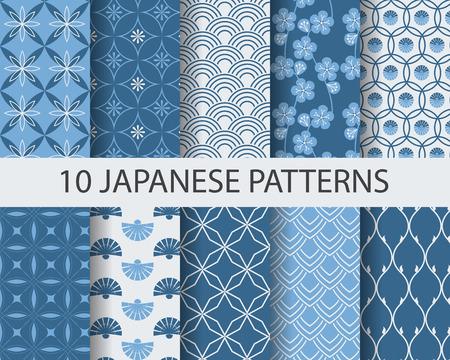 japonais: 10 différents modèles sans couture asiatiques traditionnelles japonaises, Nuancier, vecteur, texture sans fin peuvent être utilisés pour le papier peint, motifs de remplissage, page Web, fond, surface Illustration