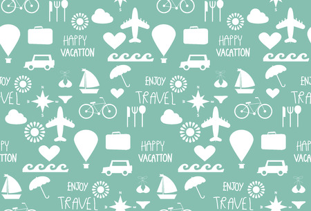 fun travel seamless pattern, tourist , Holidays and vacation. vector,  Pattern Swatches, Endless texture can be used for wallpaper, pattern fills, web page,surface Illustration