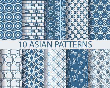 surfaces: 10 different chinese asian traditionalpatterns, Swatches, vector, Endless texture can be used for wallpaper, pattern fills, web page,background,surface