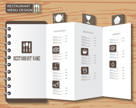 speisekarte: Restaurant-Menü, Infografiken und Elemente Hintergrund Design. Kann für das Layout, Banner, Web-Design, kochbuch, Broschüre Vorlage verwendet werden. Vektor-Illustration