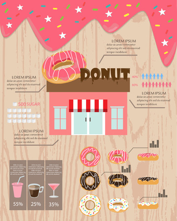 donut shop: home made donut and bakery shop, infographics background and element. sweet and vintage design. Can be used for  layout, banner, web design, cookbook, statistic, brochure template. Vector illustration Illustration