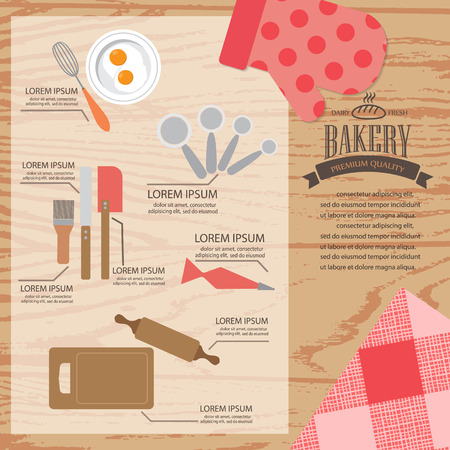 recipe background: cookbook infographics background and elements. there are bakery tools, Can be used for cooking and food recipe background, layout, banner, web design, brochure. Vector illustration