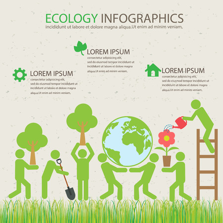 生態緑インフォ グラフィックの背景の要素。植物および環境の保存の概念。ビジネスのレイアウト、バナー、ダイアグラム、ウェブ デザイン、情報  イラスト・ベクター素材