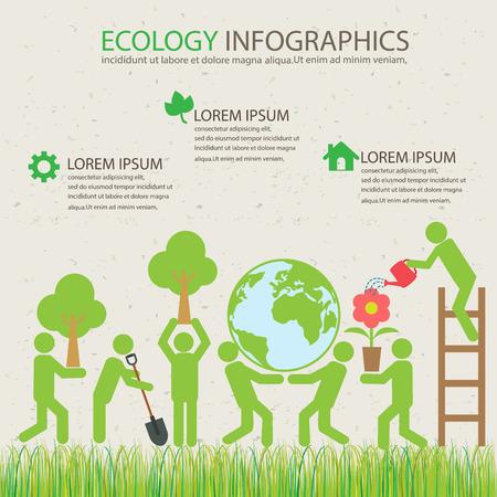 medio ambiente: ecología infografía fondo verde y elementos. fitosanitarias y medioambientales guardar el concepto. Puede ser utilizado para el diseño de negocio, bandera, diagrama, diseño web, gráfico de información, plantilla de folleto. ilustración vectorial Vectores