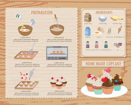 postres: cómo hacer que la recepción de la magdalena, la comida y la infografía dulces antecedentes y elementos. estilo vintage. Puede ser utilizado para el diseño, bandera, diseño de páginas web, libros de cocina, plantilla de folleto. Ilustración vectorial