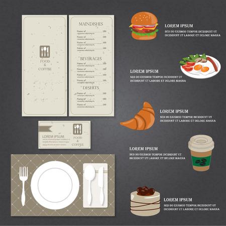 main dishes: restaurante de comida y los elementos infogr�ficos men� de bebidas y el fondo. Puede ser utilizado para el fondo, dise�o, bandera, diagrama, dise�o web, plantilla de folleto. Ilustraci�n vectorial