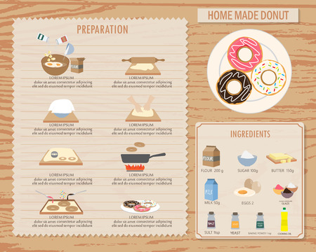 kneading: cooking  home made donut, infographics background and elements. traditional and vintage style. Can be used for  layout, banner, web design, cookbook, brochure template. Vector illustration