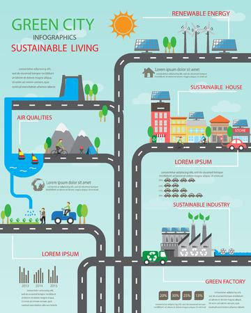 環境、エコロジー インフォ グラフィック要素。環境、生態系。 背景、レイアウト、バナー、図、web デザイン、パンフレットのテンプレートに使用  イラスト・ベクター素材