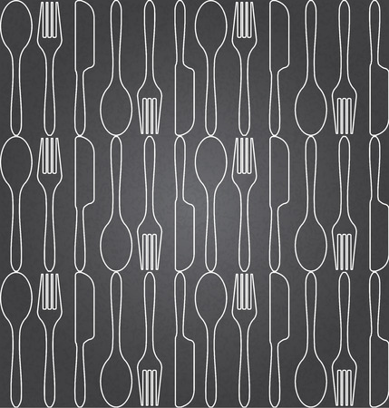 knife fork: foods seamless pattern, there are spoon, knife, fork icon on blackboard. vector, Endless texture can be used for wallpaper, pattern fills, web page background,surface textures.