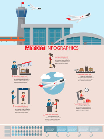 airport security: airport infographic flat design, with infographic elements templates.vector illustration.