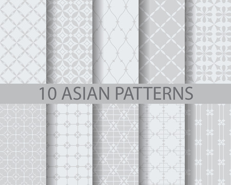tiles: 10 different chinese asian traditional patterns, Swatches, vector, Endless texture can be used for wallpaper, pattern fills, web page,background,surface