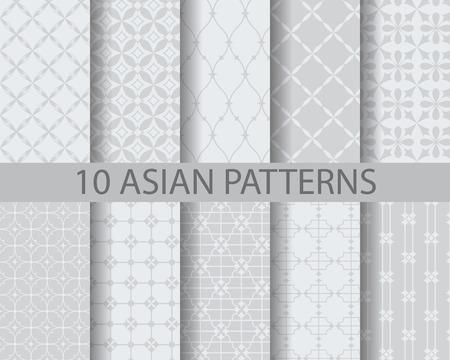 10 verschiedene chinesische asiatische traditionelle Muster, Farbfelder, Vektor, Endless Textur kann für Tapeten, Muster füllt, Web-Seite, Hintergrund, Oberflächen-