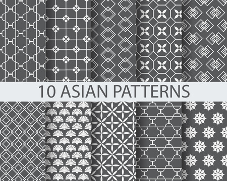 grey pattern: 10 different chinese asian traditional patterns, Swatches, vector, Endless texture can be used for wallpaper, pattern fills, web page,background,surface