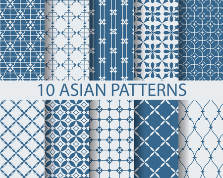 (10) 다른 중국 아시아 전통 패턴, 견본은, 벡터, 끝없는 질감, 패턴 칠, 웹 페이지, 배경, 벽지 표면에 사용할 수 있습니다 일러스트