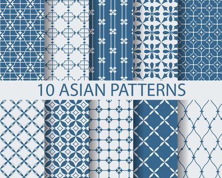 10 の異なる中国アジアの伝統的なパターン、スウォッチ、ベクトル無限テクスチャをすることができます壁紙、パターンの塗りつぶし、背景には、we  イラスト・ベクター素材
