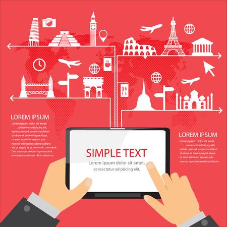 путешествие: ориентир инфографика элементы и фон кругосветное путешествие. Мобильная концепция технологии. Может быть использован для туристического бизнеса макет, баннер, диаграммы, веб-дизайн, шаблон брошюры. векторные иллюстрации