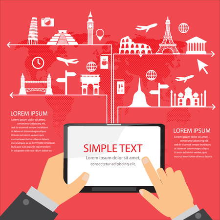 tourism: world travel landmark infographics elements and background.  mobile technology concept. Can be used for  tourism business layout, banner, diagram, web design, brochure template. vector illustration Illustration