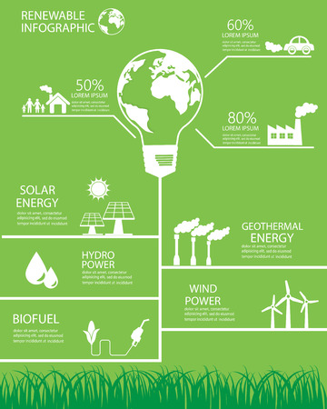energia renovable: Fondo de la energía renovable y elementos. hidráulica, eólica, sola, biocombustibles y energía geotérmica. ecología verde. Puede ser utilizado para la industria, diseño web, gráfico de información, plantilla de folleto. ilustración vectorial