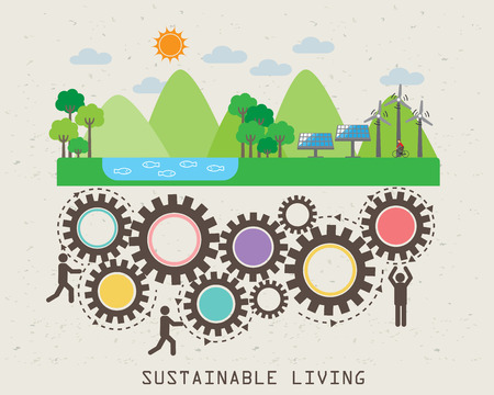 medio ambiente: Amable, elementos de la ecología infográficas Medio Ambiente. vida sostenible. diseño abstracto, se puede utilizar para el fondo, diseño, bandera, diseño de páginas web, plantilla de folleto. Ilustración vectorial Vectores