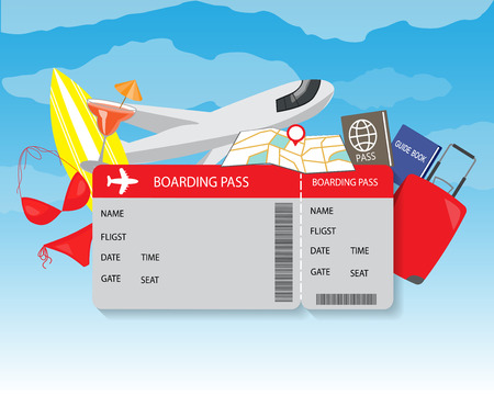 travel destination: airplane travel ticket. modern style background, for planning a summer vacation, online booking a ticket on a trip, flying a plane to travel destination. vector illustration Illustration