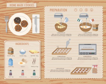 biscuits: how to make home made cookies, infographics background and elements. traditional and vintage style. Can be used for  layout, banner, web design, cookbook, brochure template. Vector illustration