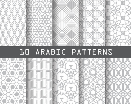 gray pattern: 10 arabic patterns,  Pattern Swatches, vector, Endless texture can be used for wallpaper, pattern fills, web page,background,surface