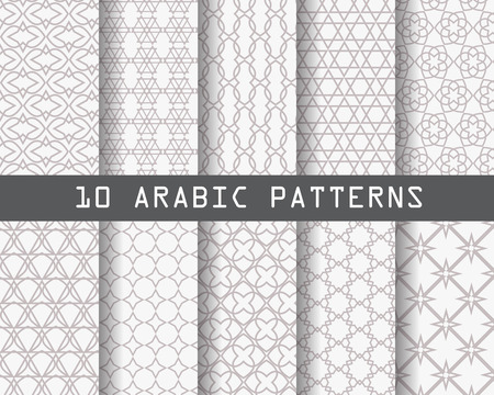 arab culture: 10 different arabic patterns,  Pattern Swatches, vector, Endless texture can be used for wallpaper, pattern fills, web page,background,surface Illustration