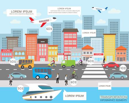 transporte: transporte y tráfico de la ciudad infografía elemento. se puede utilizar para el diseño de flujo de trabajo, diagrama, diseño web, plantilla de banner. Ilustración vectorial