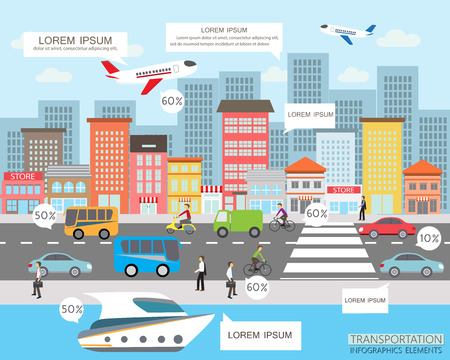 taşıma: ulaşım ve şehir trafik Infographics eleman. iş akışı düzeni, diyagram, web tasarımı, afiş şablonu için kullanılabilir. Vektör çizim Çizim