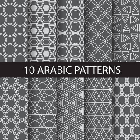 hari raya aidilfitri: 10 arabic, islamic  patterns,  Pattern Swatches, vector, Endless texture can be used for wallpaper, pattern fills, web page,background,surface