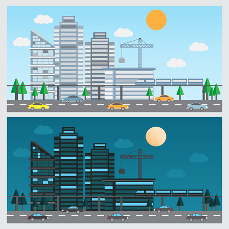 flat design of urban landscape background. day and night design. Can be used for cover page, business infographics element, web design, brochure template. vector illustration Illustration