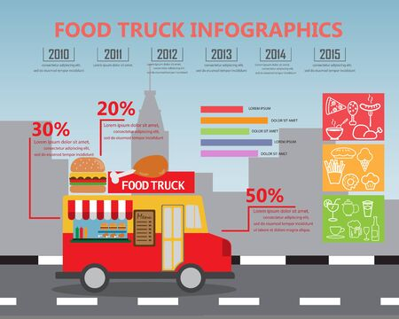 fast food on truck, small business concept,  infographics elements and  background. Can be used for   statistic , business data, web design, info chart, brochure template. vector illustration