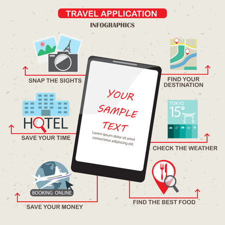 hotel booking: mobile applications for travel infographics elements and  background. Modern technology and Flat design. Can be used for business layout, ad diagram, web design, brochure template. vector illustration Illustration